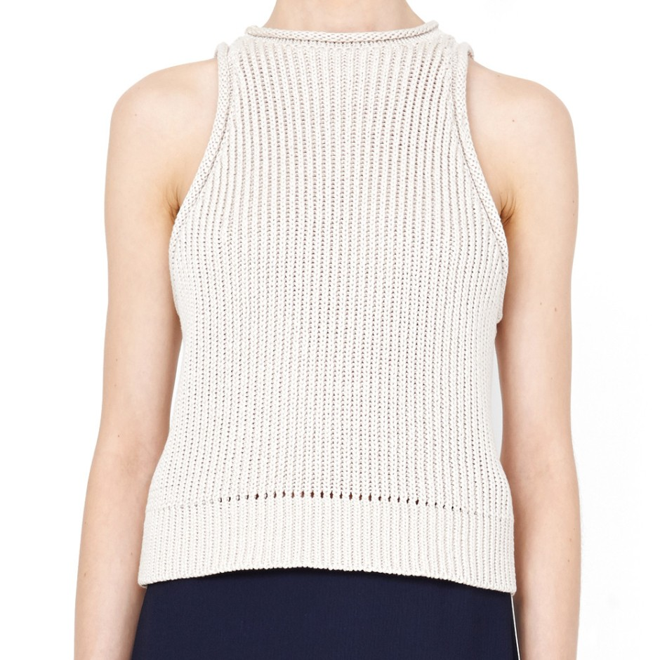 3.1 Phillip Lim Beige Rib Stitch Sleeveless Shell